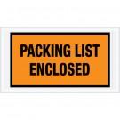"5 1/2 x 10"" Orange ""Packing List Enclosed"" Envelopes"