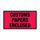 """5 1/2 x 10"""" Red """"Customs Papers Enclosed"""" Envelopes"""