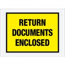 "7 1/2 x 5 1/2"" Yellow ""Return Documents Enclosed"" Envelopes"