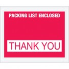 """4 1/2 x 5 1/2"""" Red """"Packing List Enclosed - Thank You"""" Envelopes"""