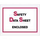"""6 1/2 x 5"""" """"Safety Data Sheet Enclosed"""" SDS Envelopes"""