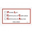 """5 1/2 x 10"""" """"Packing List/Cert of Compliance/Cert. of Analysis Enclosed"""" Envelopes"""