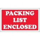 "3 x 5"" - ""Packing List Enclosed"" Labels"