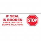 "2"" x 110 yds. - ""Stop If Seal Is Broken"" Tape Logic® Pre-Printed Carton Sealing Tape"