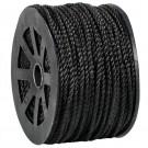 "1/4"", 1,150 lb, Black Twisted Polypropylene Rope"