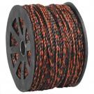 "3/8"", 2,450 lb, Black/Orange Twisted Polypropylene Rope"