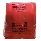 "15"" x 9"" x 23"" Biohazard Message Extra-Strength Low Density Gusseted Liner - Red (4 mil)"