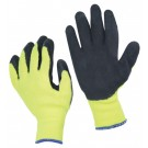 High Visibility Yellow Knit Latex Coated Gloves - Medium