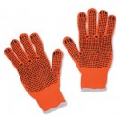 High Visibility Orange String-Knit Gloves - Large