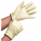 Fleece-Lined Pigskin Leather Driver's Gloves - Small