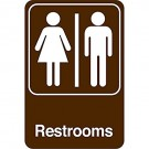 """Men/Women Restrooms"" 9 x 6"" Facility Sign"
