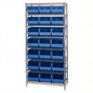 "36 x 18 x 74"" - 8 Shelf Wire Shelving Unit with (21) Blue Bins"