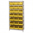 "36 x 18 x 74"" - 8 Shelf Wire Shelving Unit with (21) Yellow Bins"