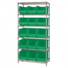 "36 x 18 x 74"" - 6 Shelf Wire Shelving Unit with (15) Green Bins"