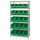 "36 x 18 x 74"" - 6 Shelf Wire Shelving Unit with (20) Green Bins"