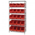 "36 x 18 x 74"" - 6 Shelf Wire Shelving Unit with (20) Red Bins"
