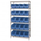 "36 x 18 x 74"" - 6 Shelf Wire Shelving Unit with (20) Blue Bins"