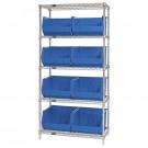 """36 x 18 x 74"""" - 5 Shelf Wire Shelving Unit with (8) Blue Bins"""